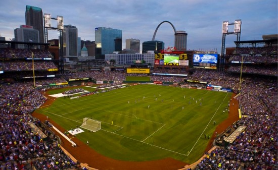 The Gateway Arch plays the backdrop for a friendly match between Manchester City and Chelsea at Busch Stadium in June, 2013.
