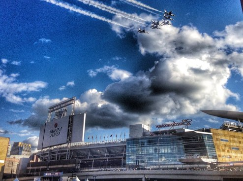 A flyover at Target Field in Minneapolis before the start of the 2014 All Star Game.